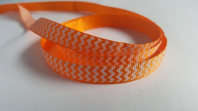 3m Printed Ribbon - Grosgrain - 9mm - Chevron - Orange