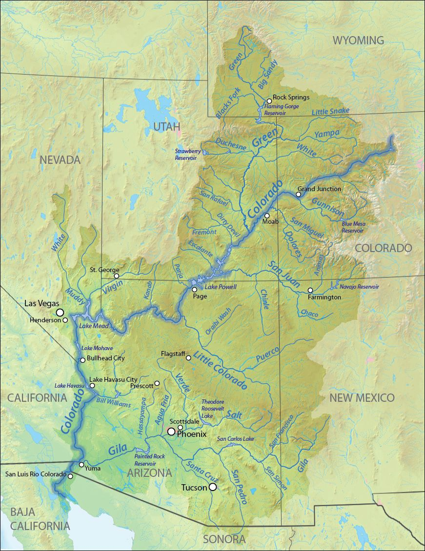 Drainagebasin Map Of The Colorado River The Colorado River Is - Colorado on a us map