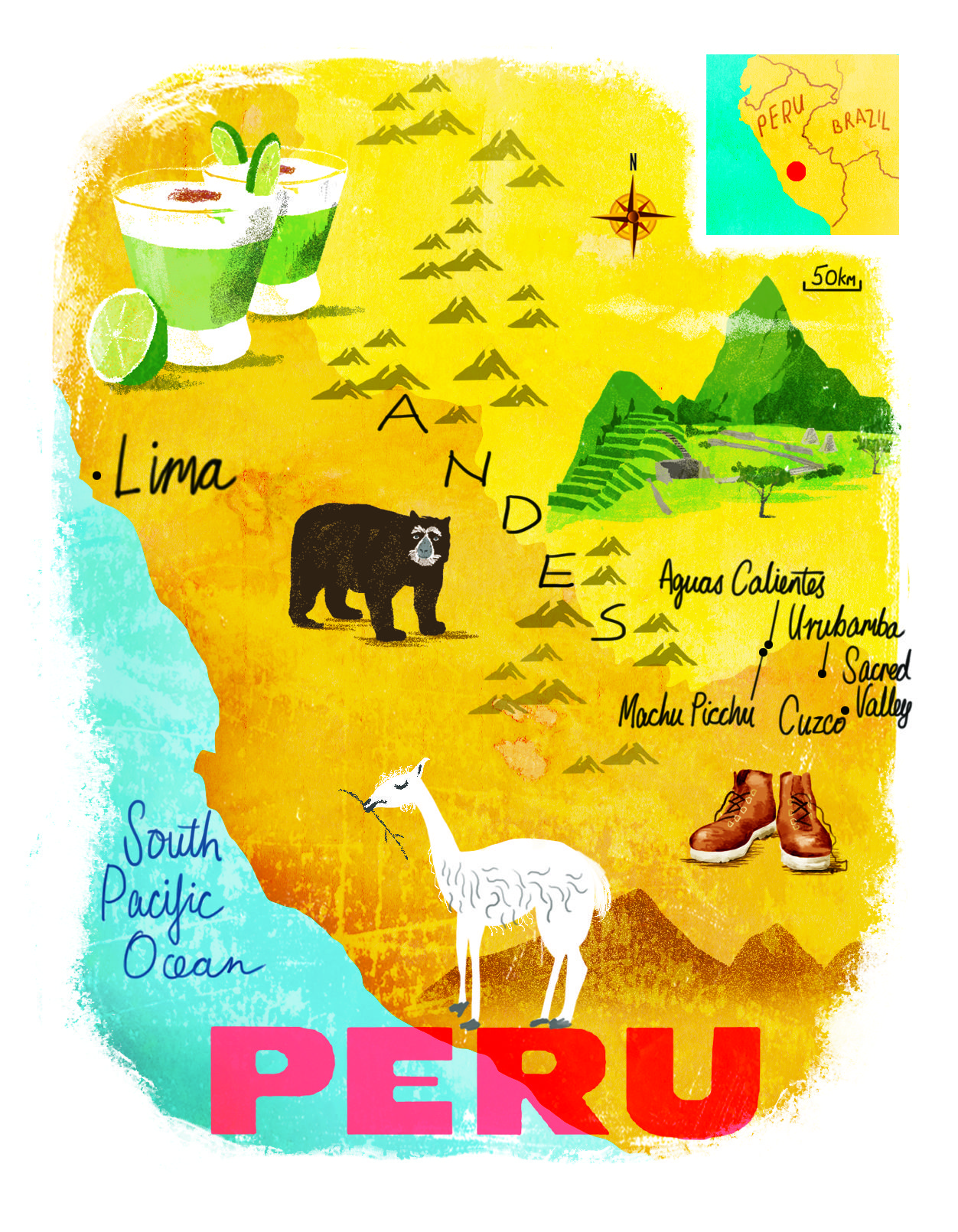 Peru Map By Scott Jessop July 2016 Issue Illustrated Map Peru Map Vintage Travel Posters