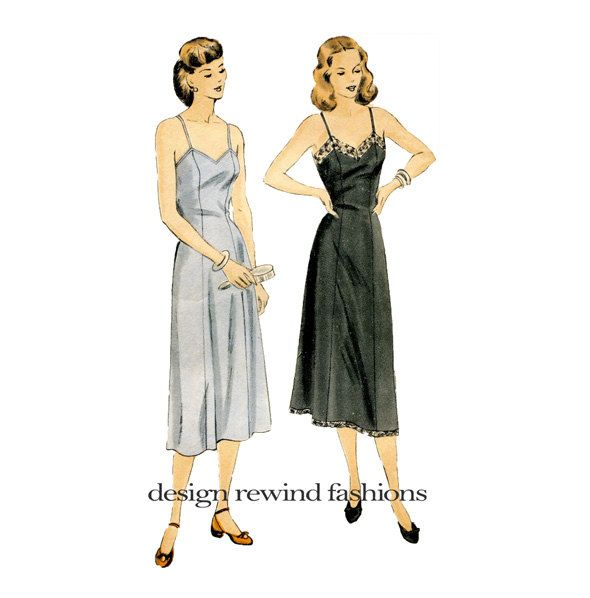 bd3aaacaa5a9c 1950s VOGUE SLIP PATTERN Lingerie Lace Trim Full Slip Patterns 50s ...