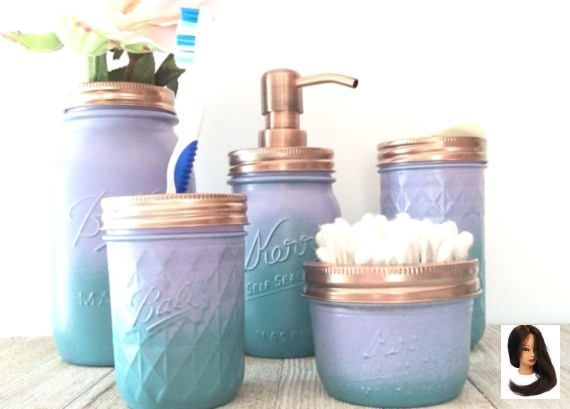 Mermaid Bathroom Bathroom Set - Girls Bathroom - Upcycled Jars - Ombre Jars - Purple - Teal - Rose Gold Bathroom - Mason Jar Decor - Copper #mermaidbathroomdecor #Bathroom #Copper #Decor #Girls #girls Bathroom Decor #Gold #Jar #Jars #Mason #Mermaid #Ombre #Purple #Rose #Set #teal #Upcycled Mermaid Bathroom Bathroom Set - Girls Bathroom - Upcycled Jars - Ombre Jars - Purple - Teal - Rose Gold Bathroom - Mason Jar Decor - Copper        Mermaid Bathroom Decor - Girls Bathroom - Upcycled Jars - Ombr #mermaidbathroomdecor