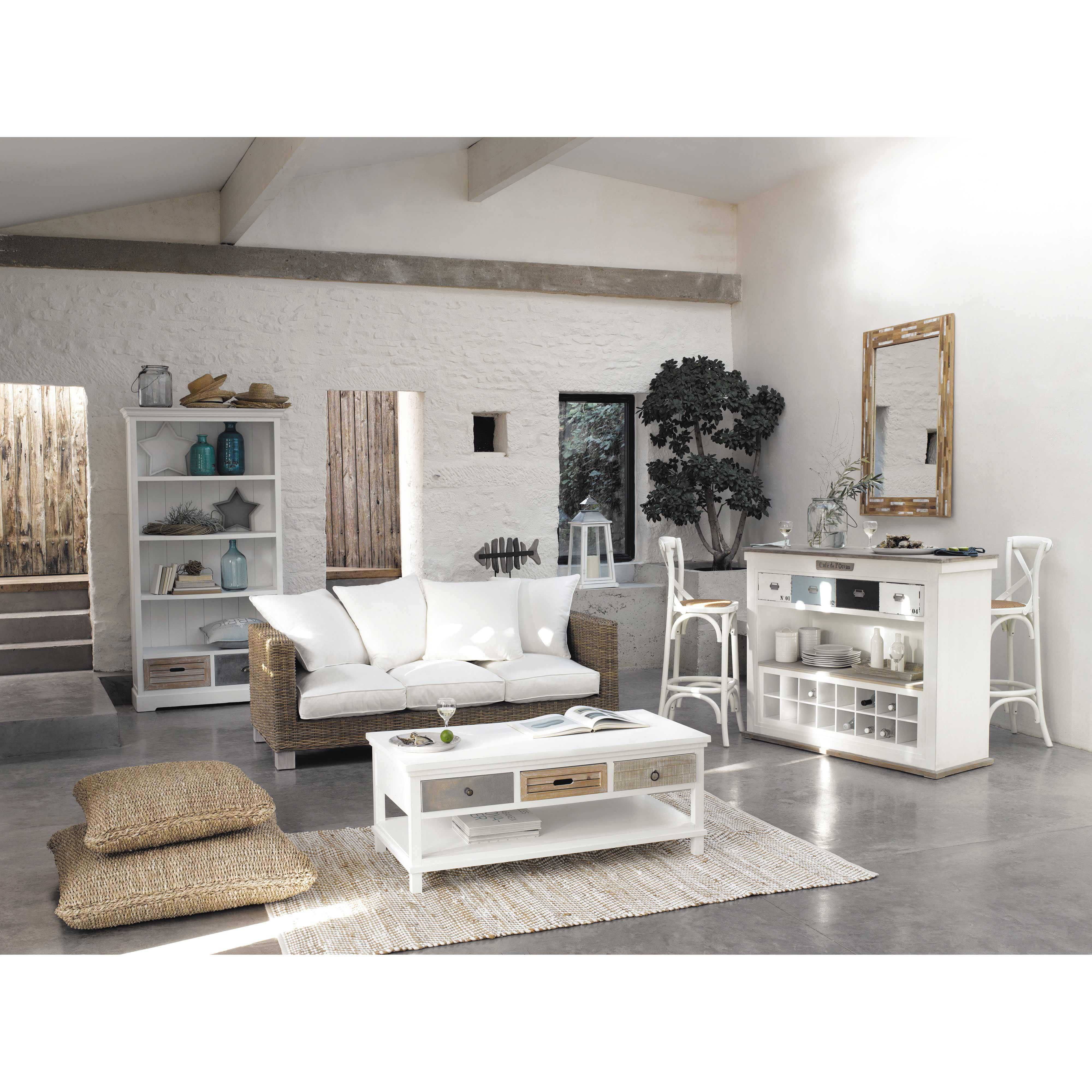 table basse en bois blanche l 120 cm tables basses en bois ouessant et bois blanc. Black Bedroom Furniture Sets. Home Design Ideas