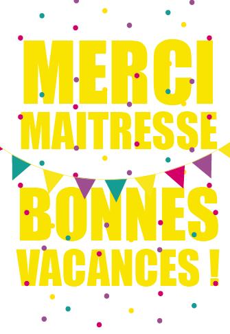 Cadeau De Fin D Annee Merci Maitresse Et Bonnes Vacances