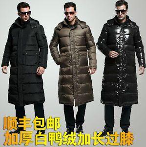 S-4XL Men's Full Length DuCK Down Hooded Long Puffer Jacket Coat ...