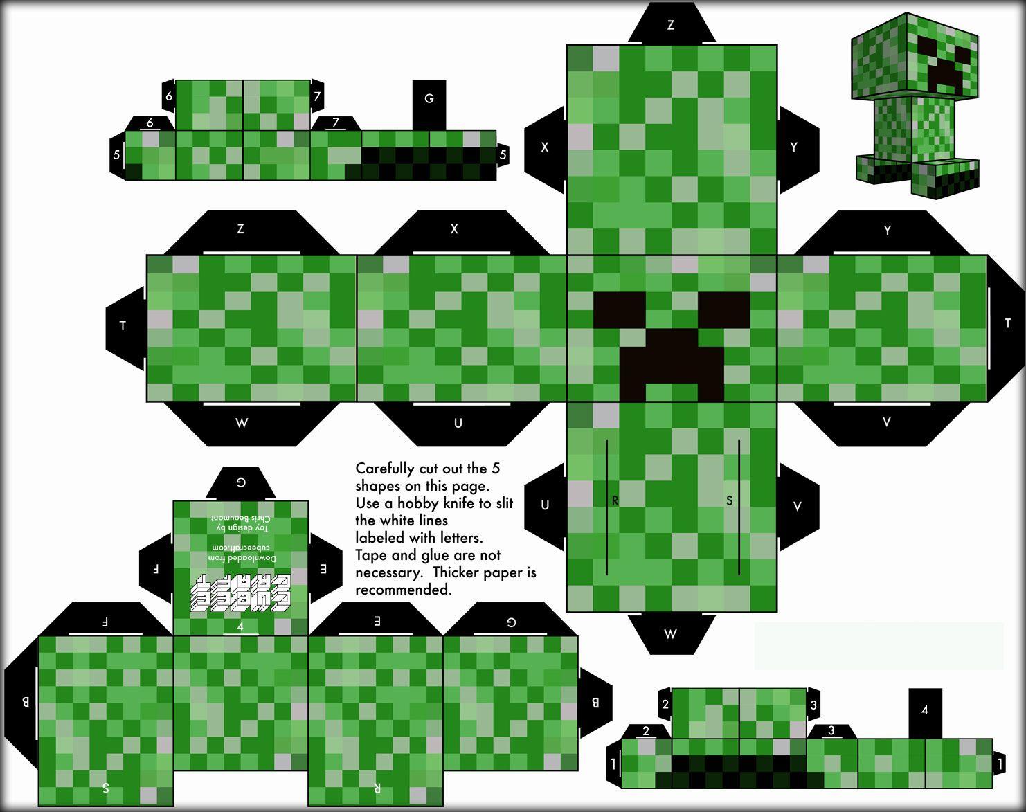 Personajes Para Armar De Minecraft Papel Steve Con Imagenes