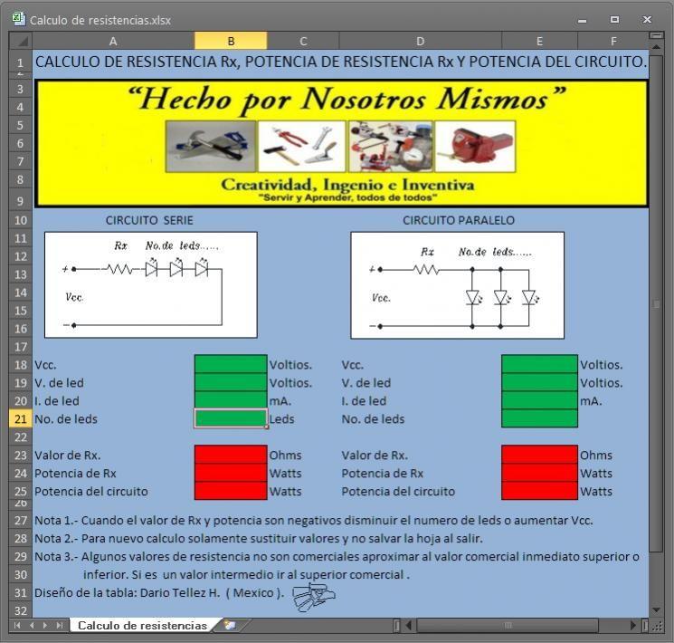 Hoja de cálculo de resistencias electrónicas | Tinkering | Pinterest ...