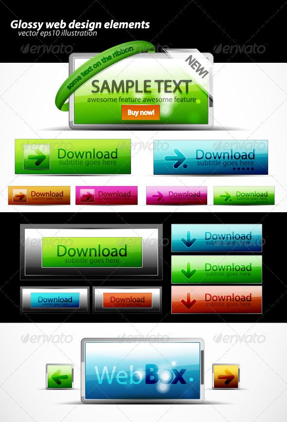 Glossy Web Elements Web Box Indesign Templates