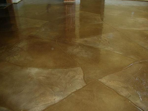 This Is An Awesome Durable Floor For The Basement Rec Room No Worries Flooring Love It Project 5 Turn Your Old Concrete Decor Concrete Design Flooring