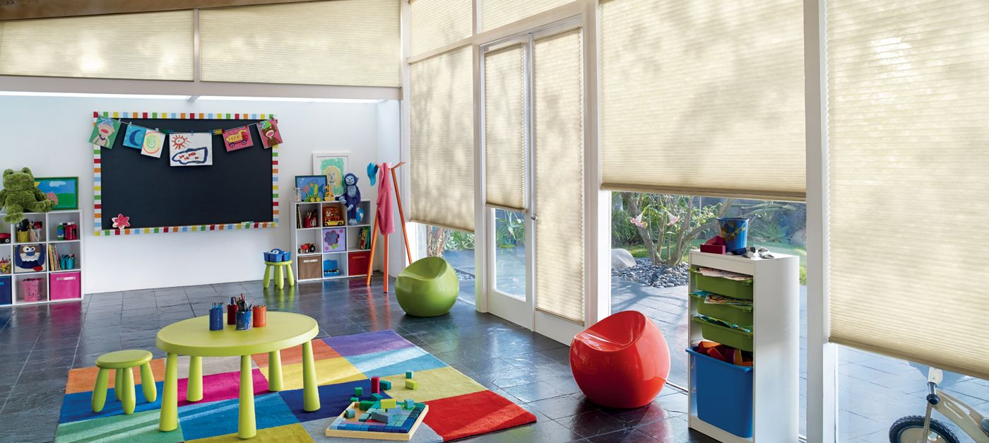 Hunter Douglas Applause perfect for a kids playroom