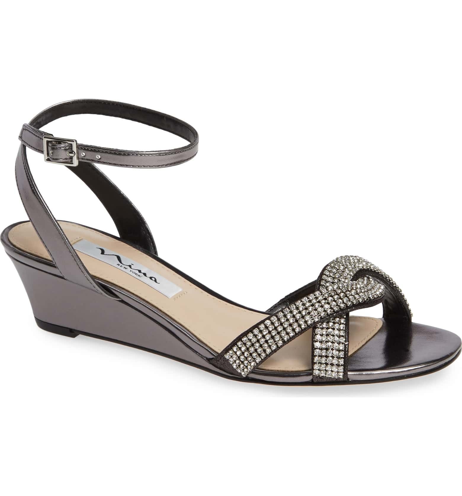 97c9f4f795 Nina Florina Crystal Embellished Wedge Sandal (Women)
