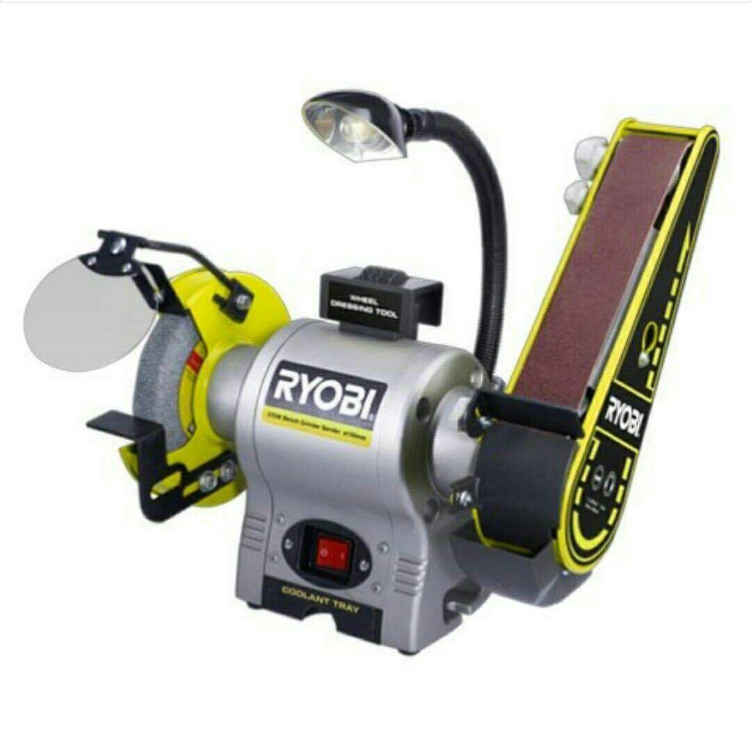 Ryobi Bench Grinder 6 In 2.1-Amp w// LED Lights Heavy Gauge Steel Power Tool