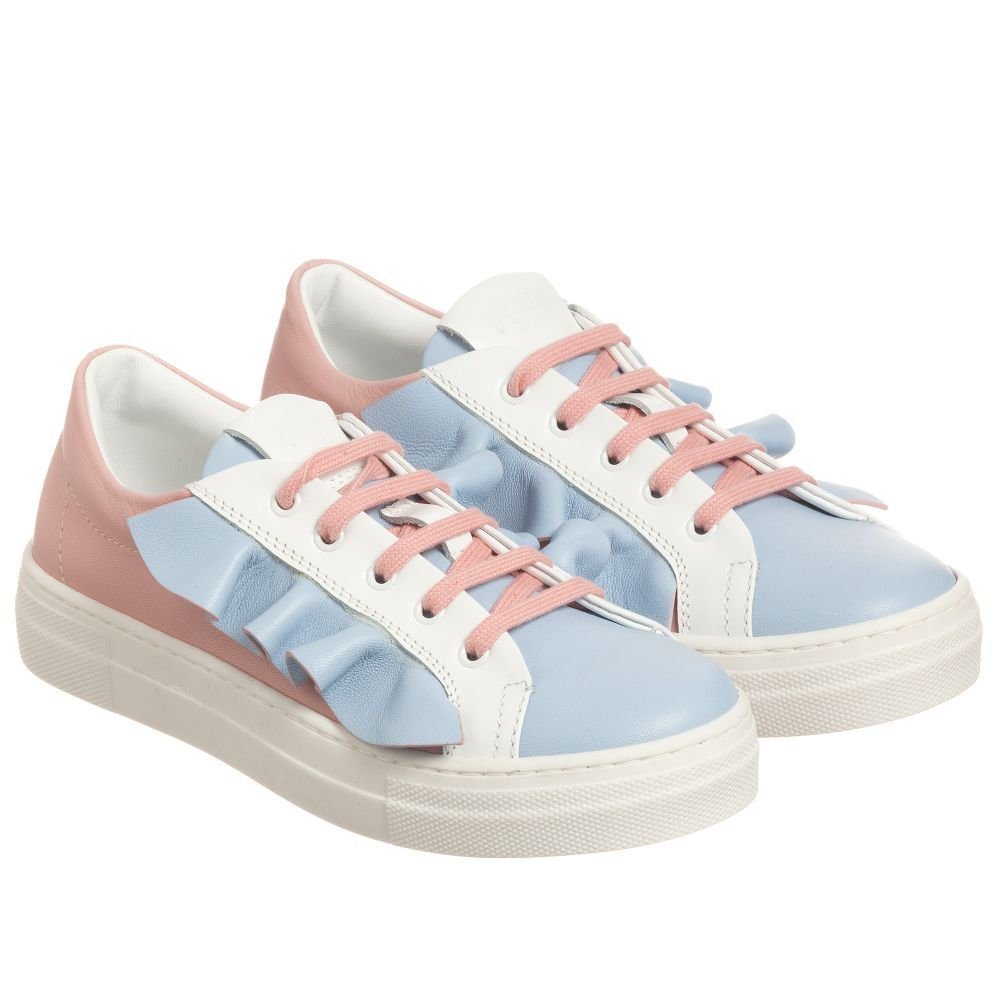 a26764c9 Fendi - Blue & Pink Leather Trainers     SHOES GIRLS BOYS   Leather ...