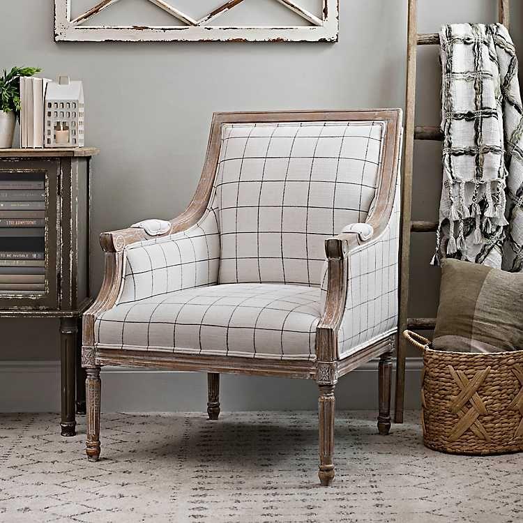 Mckenna White And Black Check Accent Chair Farmhouse Accent Chair Accent Chairs For Living Room Farmhouse Armchair