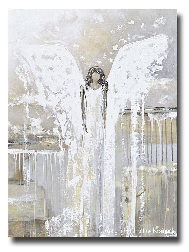 Original Abstract Angel Painting Fine Art Guardian Angel Grey White Cream Neutral Home Wall Decor X Large 36x48 Giclee Print Abstract Angel Painting Angel Wall Art