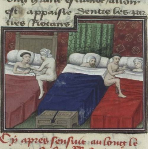Bibliothèque nationale de France, Français 239, f. 256v ('Pinuccio deceiving the innkeeper'). Boccaccio, The Decameron (Ninth Day: Sixth Story). France, 2nd quarter of the 15th century.