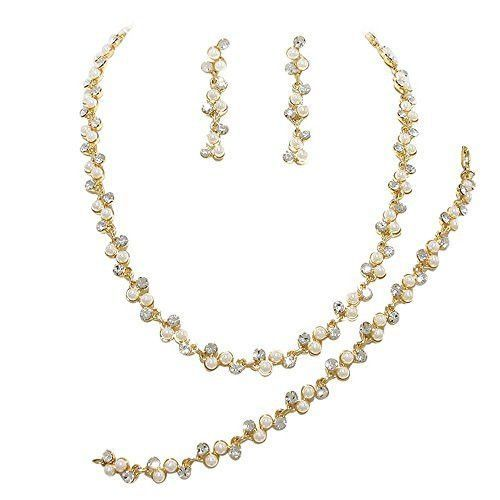 3 Piece Cream ivory Pearl Bridal Necklace Set With Earrings, Bracelet Prom Earring Set AB3