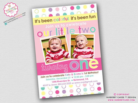 Colorful Fun Year Twin Girls First Birthday Party Invitation – Twins 1st Birthday Invitations