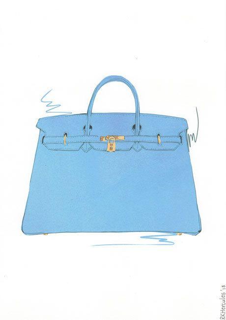 1b747d5bbf Light Blue Hermes Birkin bag illustration by RKHercules