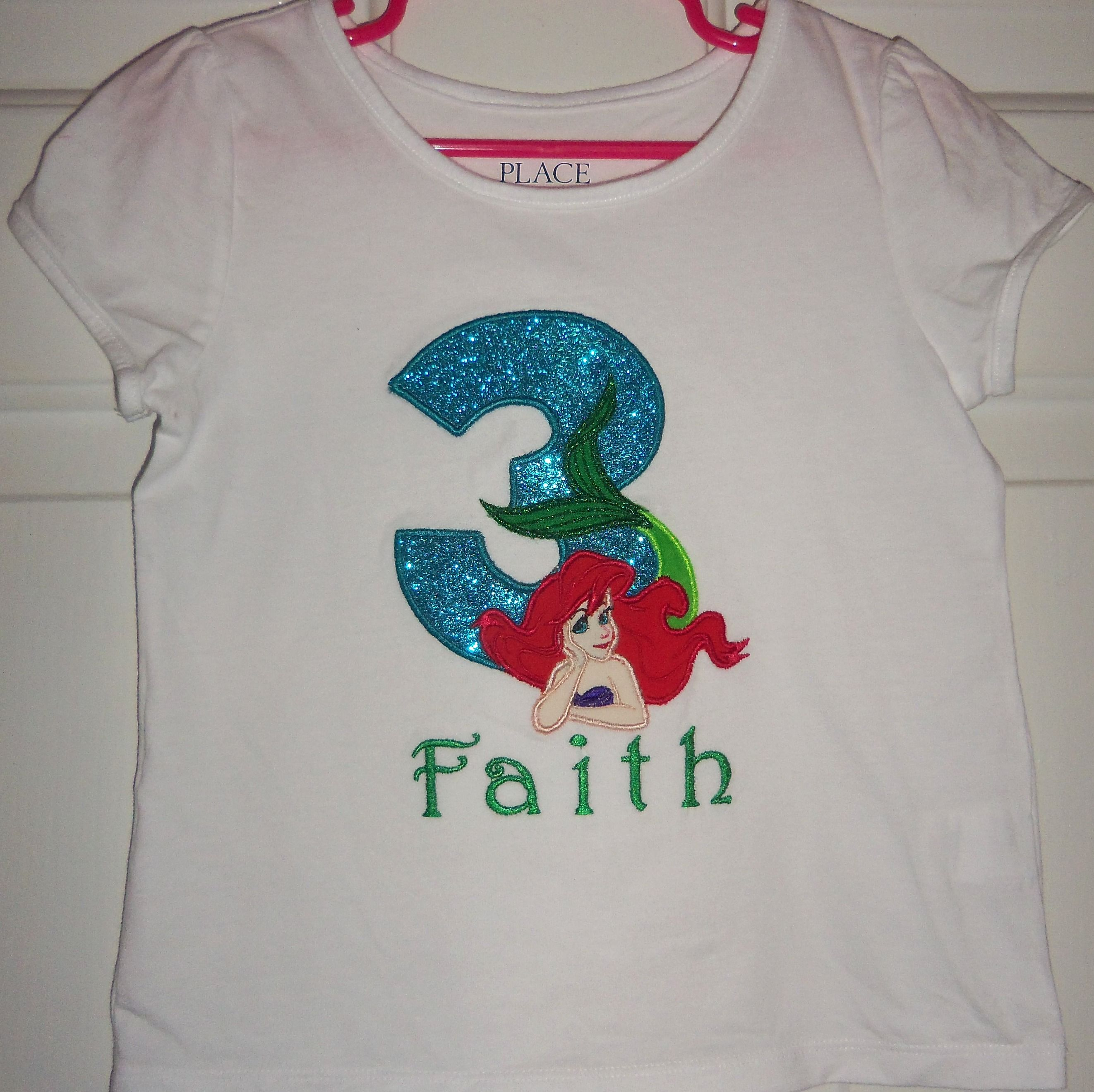Princess Ariel Birthday Shirt With Any And Personalized In Sizes 18 Mo Through 6 6x