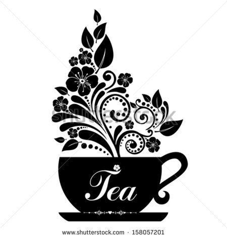 Cute tea time card Cup with floral design elements Menu for - time card