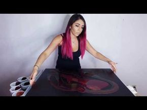Fluid Acrylic Pouring Painting Red & Black & Gold