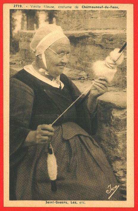 France, Chateauneuf-du-Faou, woman spinning