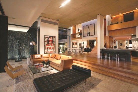Sala en desnivel interiores pinterest moderno for Casa minimalista a desnivel