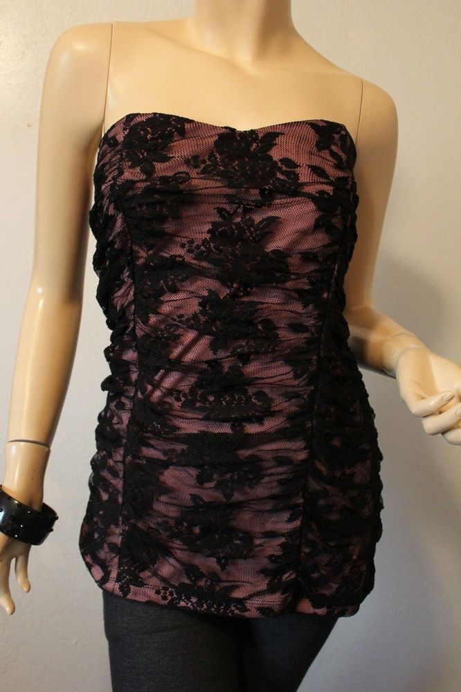 8e059568ed6 Torrid Knit Tube Top Black Pink Lace Ruched Strapless 1 1X 14-16 Stretchy   Torrid  Blouse  Casual