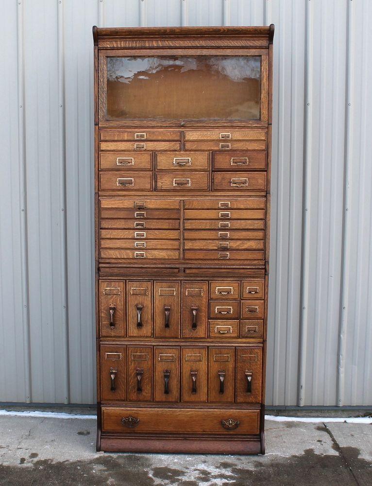 Very very rare 39 drawer gunn stacking oak bookcase file ...