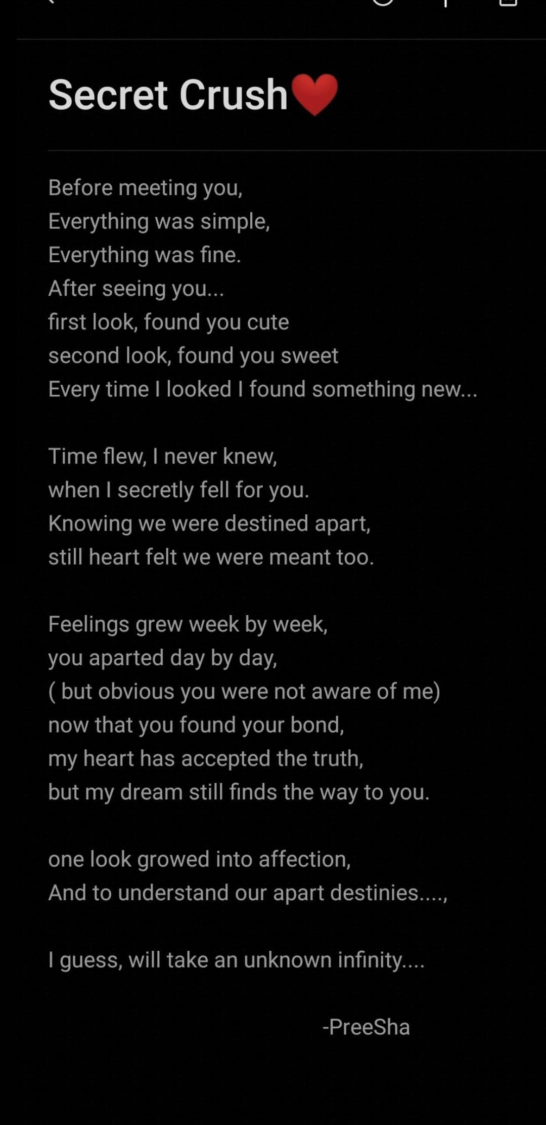 Poems secret crush Secret Lover