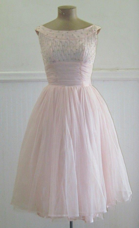 Vintage 1950s Pale Pink Rhinestone Party Dress by FASHIONRERUN