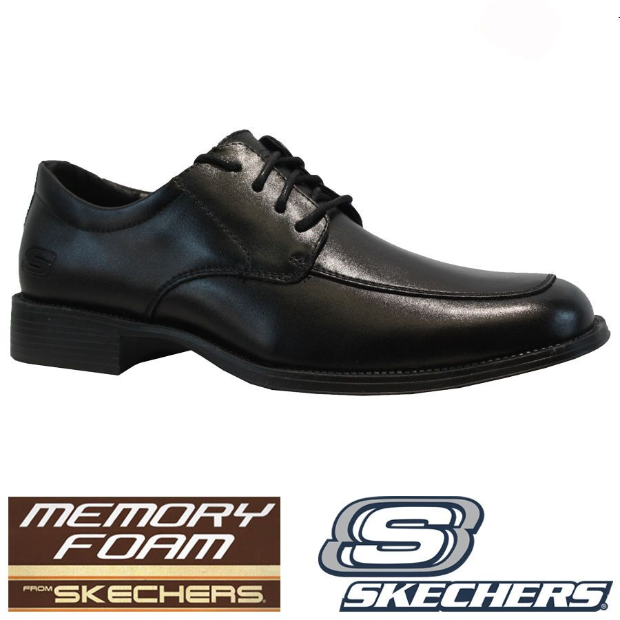 Details About Mens Skechers Leather Memory Foam Walking Formal Smart Casual Office Shoes Size