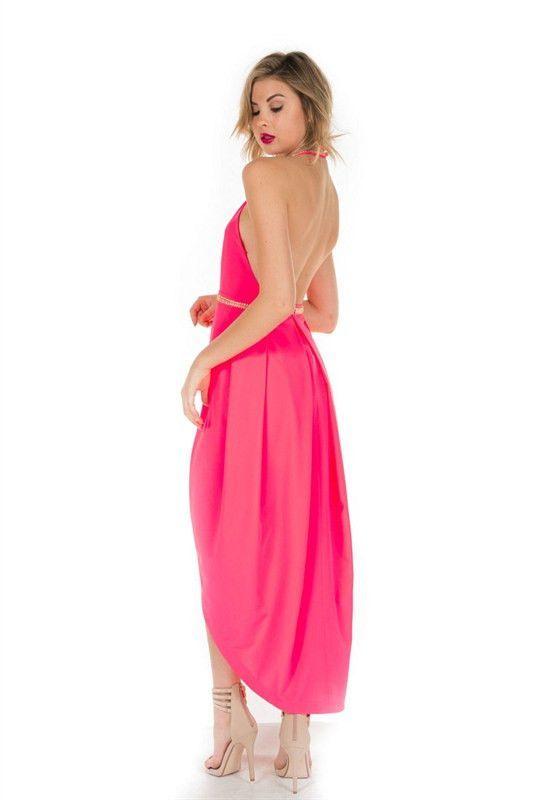 In This Moment Embellished Halter Dress - Pink