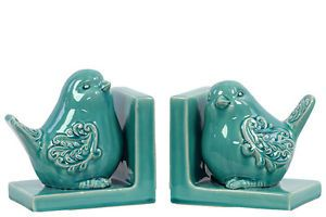 Woodland-Imports-Delightful-and-Endearing-Ceramic-Bird-Book-Ends-Turquoise