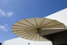 Seashell retractable awnings - these things are pretty remarkable.  Would love one for our sunny south facing patio.