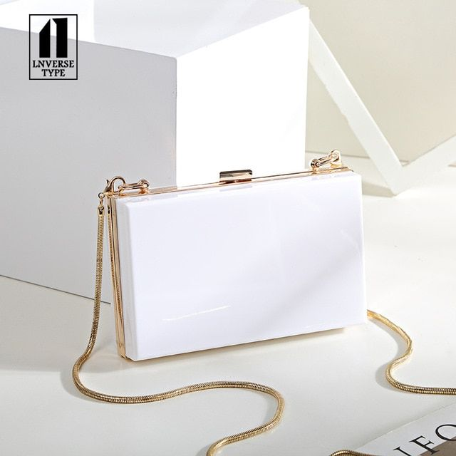 Women Evening Party Bags Black White Shoulder Cross Body Bag Ladies Day Clutch Dinner Purse Wedding Bride Bag Color Transparent Size 18x5x11cm Prom Purse Evening Bags Clutch Bag