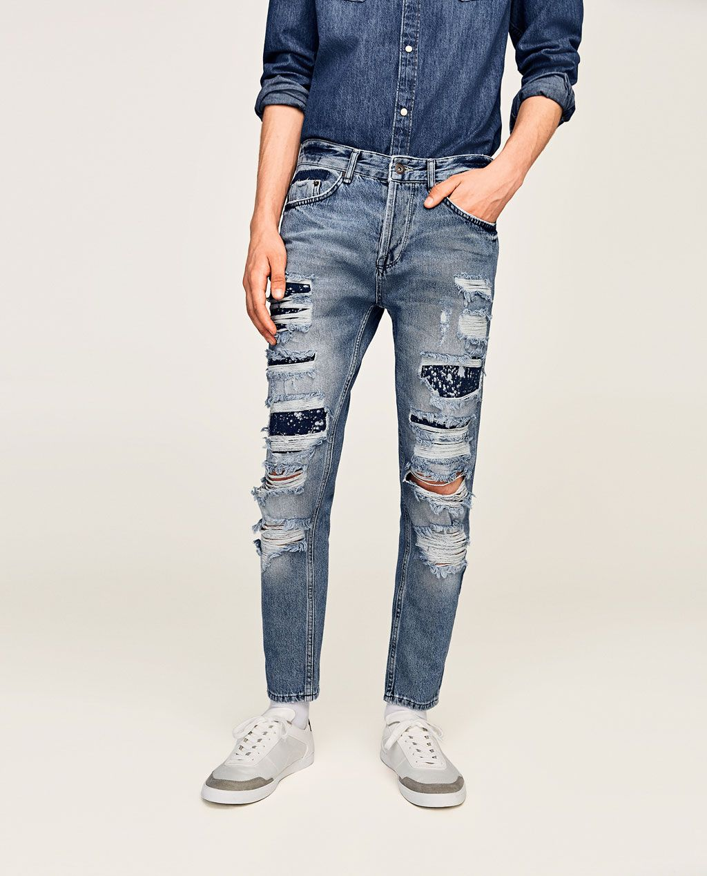 YYear Mens Casual Patch Slim Straight Leg Distressed Jeans Denim Pants