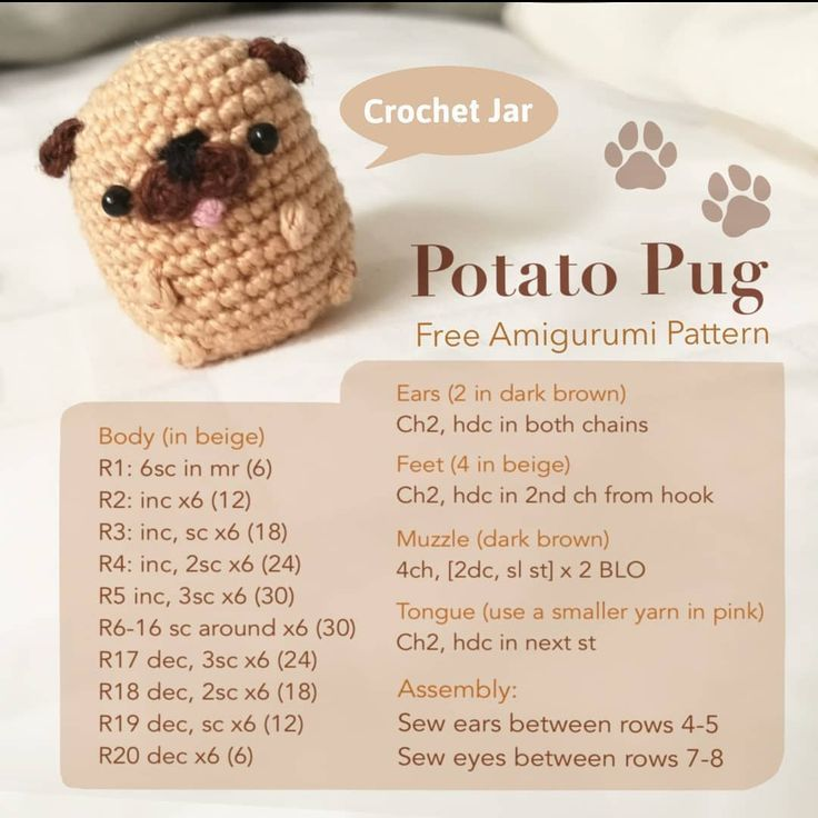 FREE Pug Amigurumi Pattern by The Crochet Jar - #amigurumi #crochet #Free #Jar #Pattern #Pug