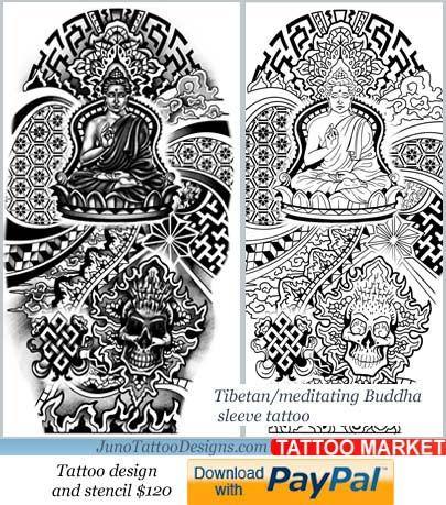 tibbetan tattoo template, buddha tattoo for arm,sleeve tattoo - tattoo template