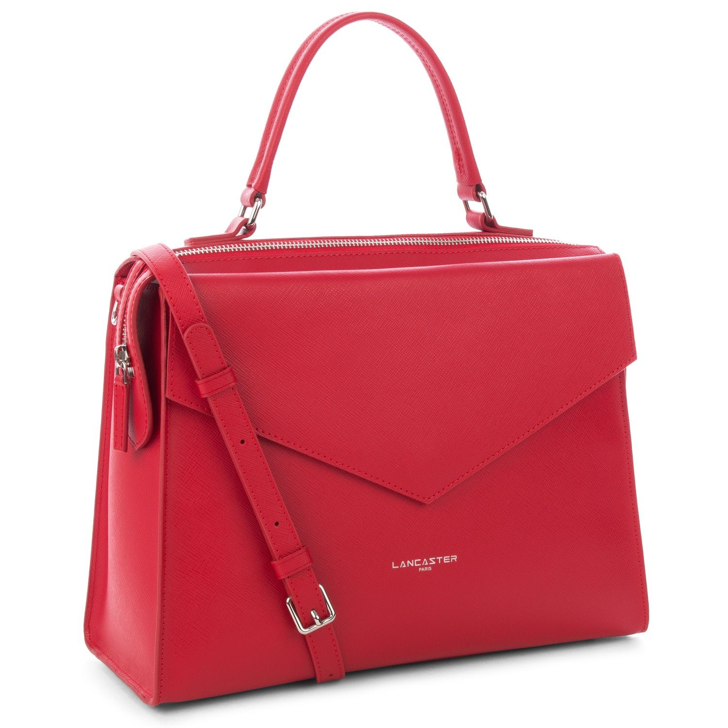 Red large satchel for women, Adèle collection, Lancaster