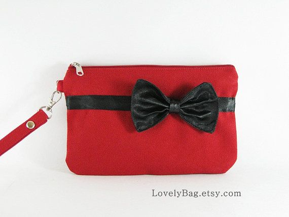 SUPER SALE  Red with Little Black Bow Clutch  Bridal by LovelyBag