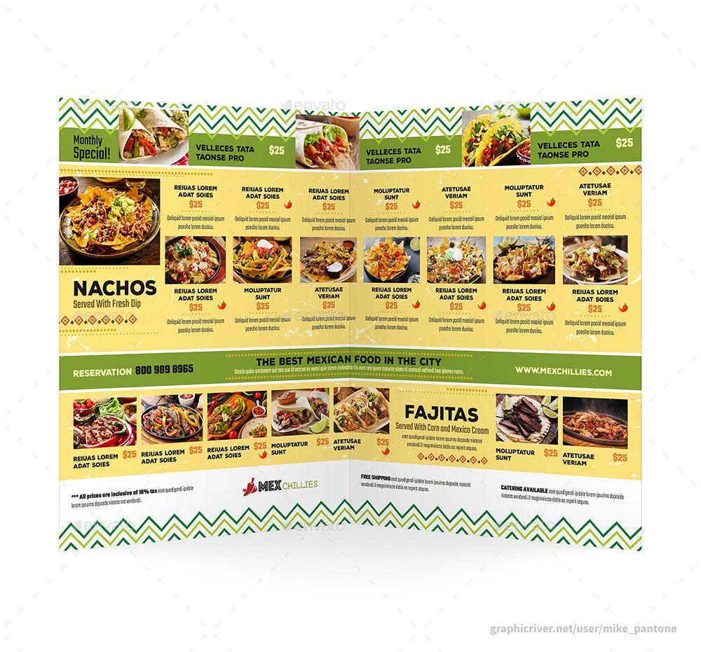 mexican restaurant menu print bundle 2 #avocado, #bifold, #brochure