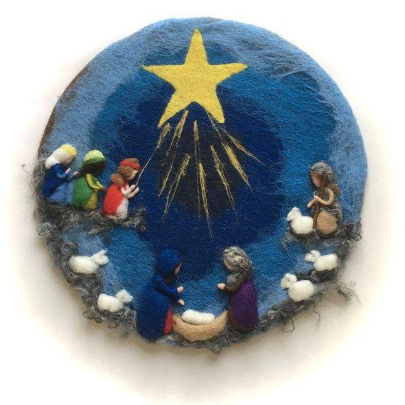 Nativity cirkel, afbeelding. Kerstmis. Naald vilten. Natte Felted.Waldorf