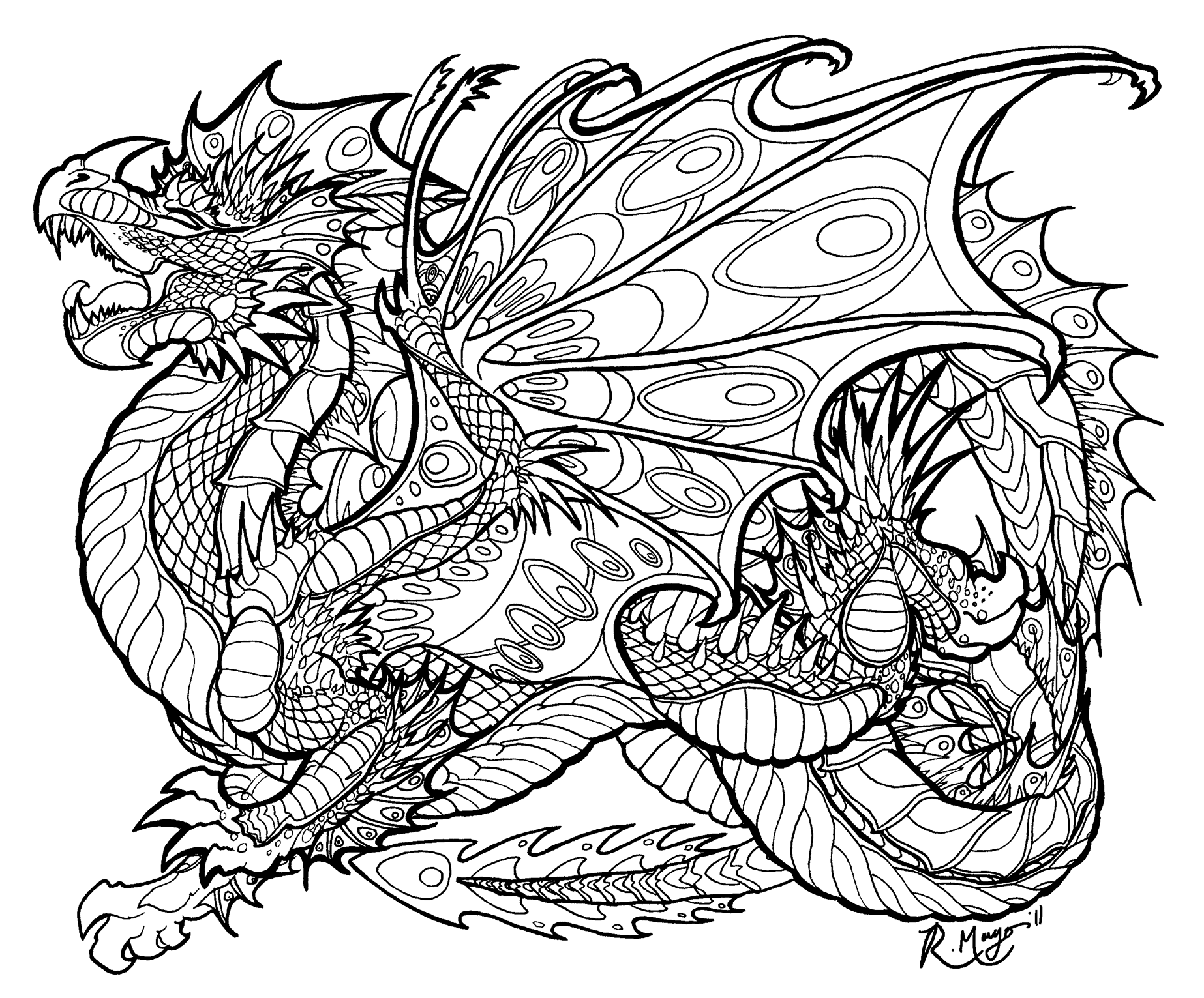 malachite sentinel coloring page by - Dragon Coloring Pages For Adults