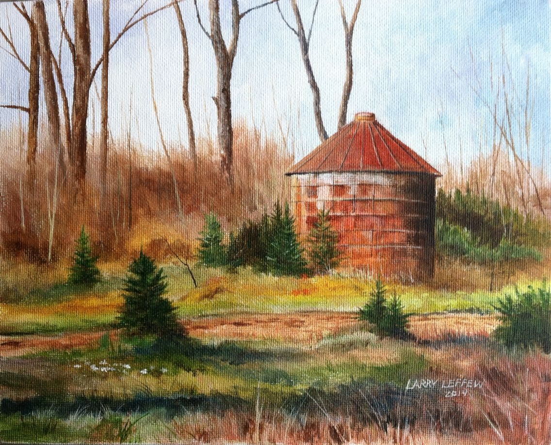 A watercolor of a corn bin near my house painting fine