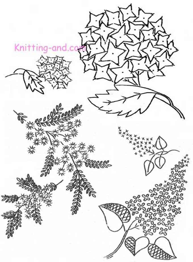 Embroidery pattern with various bunches of flowers