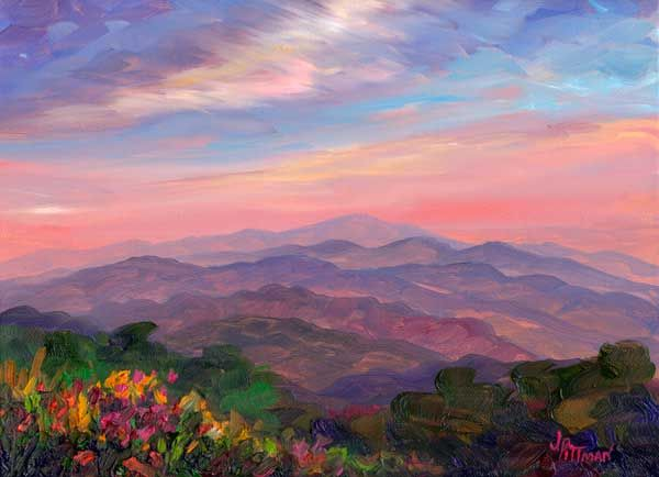 Mountain Wildflowers Landscape Paintings Acrylic Summer Art Projects Landscape Art
