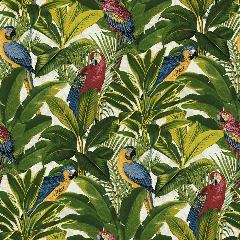 new grandeco ideco exotic bird pattern parrot motif tropical leaves wallpaper papier peint. Black Bedroom Furniture Sets. Home Design Ideas