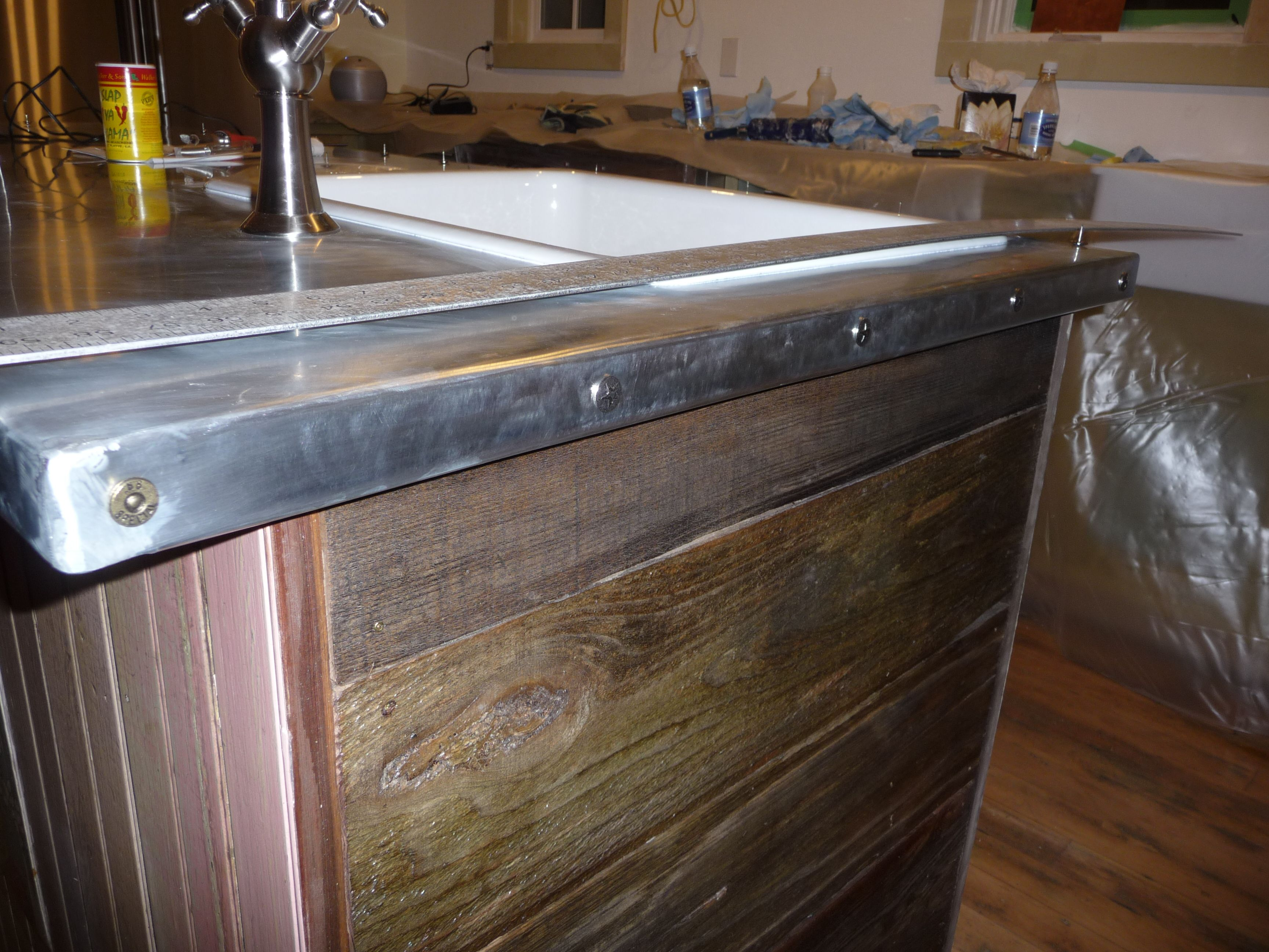 Zinc Countertop Diy   This Also Has Your Barnwood Look On The Sides.  Interesting Thought