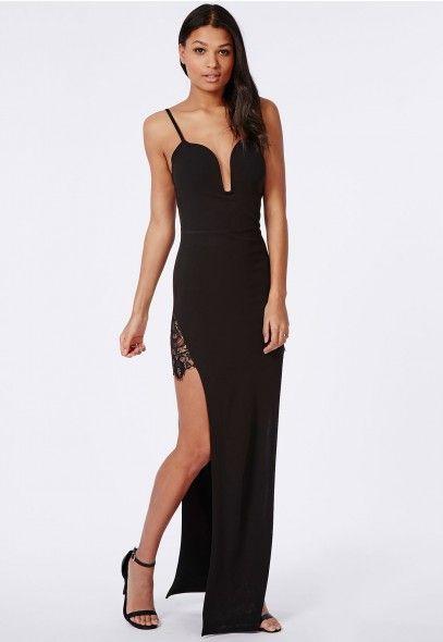 Lace Insert Split Side Plunge Maxi Dress Black - Dresses - Maxi Dresses - Missguided